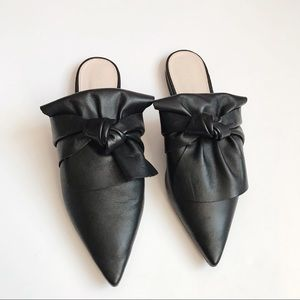 Zara black leather bow mules  size 40